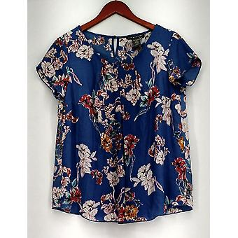 Kate Mallory Top Floral Print Lace Inset Scoop Neck Blouse Blue / Pink A425705