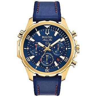 Bulova Mens Marine Star Strap Leather Chronograph 97B168 Watch