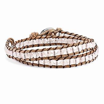 Grânulos de quartzo rosa 6mm ajustável cabo Multi Wrap pulseira de couro