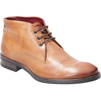 Base London Mens Bramley Burnished Laced Ankle Chukka Boots