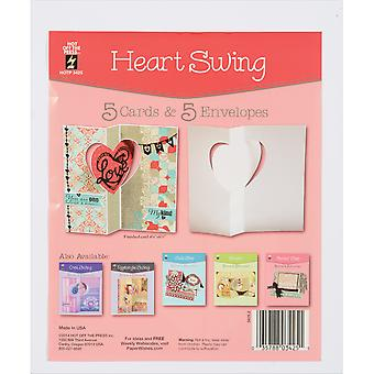 Hot Off The Press Die-Cut Cards W/Envelopes 5/Pkg-Heart Swing 34-25