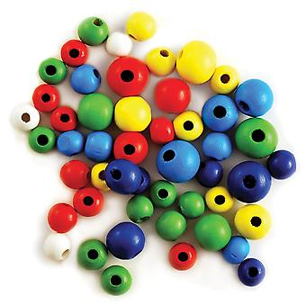 Craftwood Round Beads Assorted 10 16Mm 60 Pkg Colored Cw331