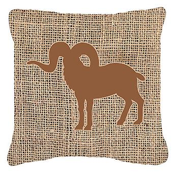 Sheep Burlap and Brown   Canvas Fabric Decorative Pillow BB1007