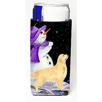 Snowman with Golden Retriever Ultra Beverage Insulators for slim cans SS8950MUK