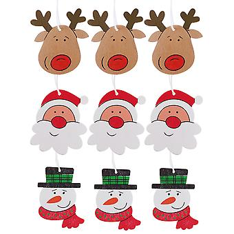 Set of 9 Christmas Character Wooden Tree Decorations