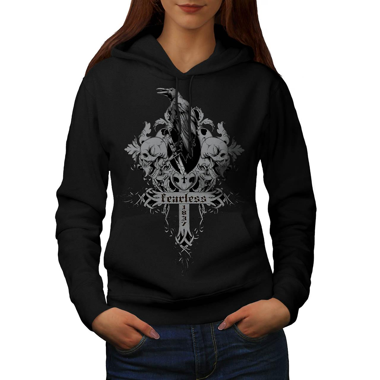 Fearless Death Crow Grave Yard Women Black Hoodie | Wellcoda