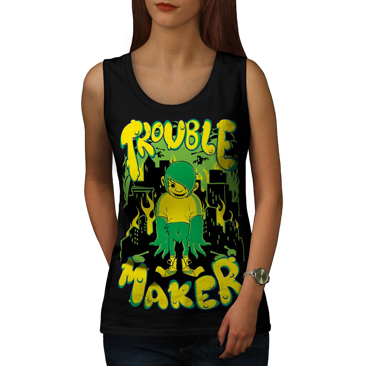 Trouble Maker Youth Chaos Problem Women Black Tank Top | Wellcoda
