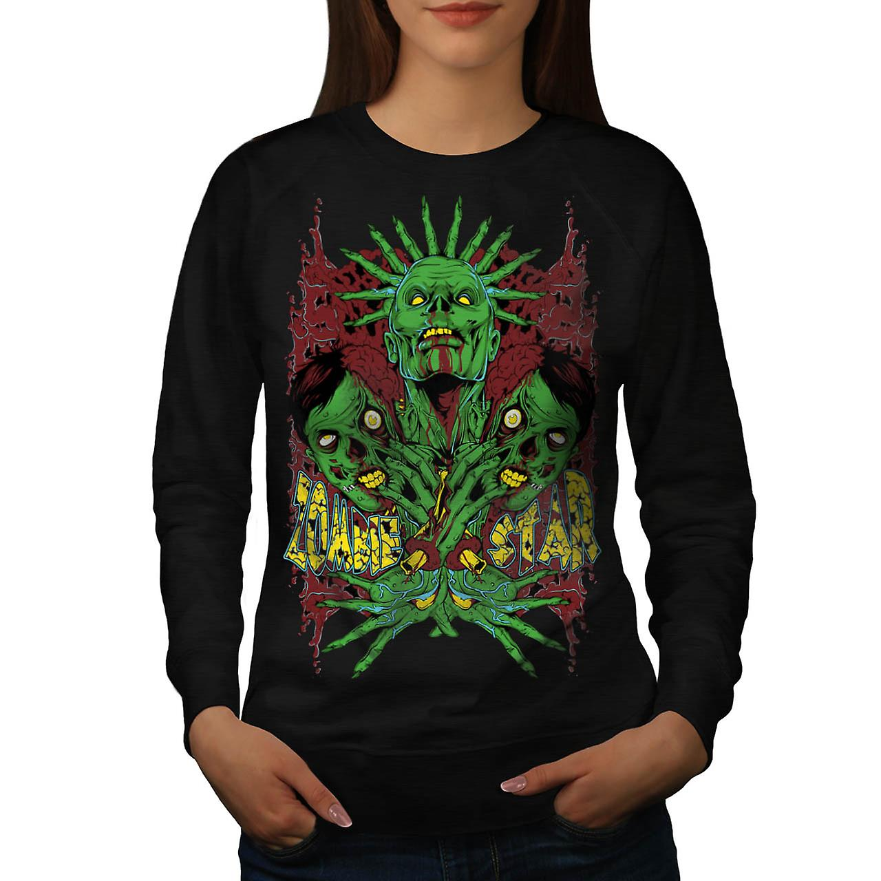 Monster Zombie Star Nightmare Women Black Sweatshirt | Wellcoda