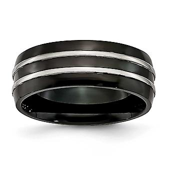 Titanium Engravable IP black-plated Grooved 8.00mm Black-plated Brushed and Polished Band Ring - Ring Size: 7 to 13