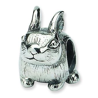Sterling Silver Antique finish Reflections Bunny Bead Charm