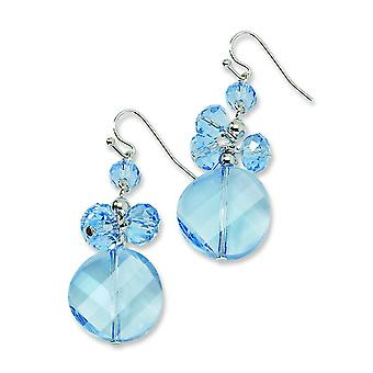 Silver-tone Blue Crystal Round Drop Earrings