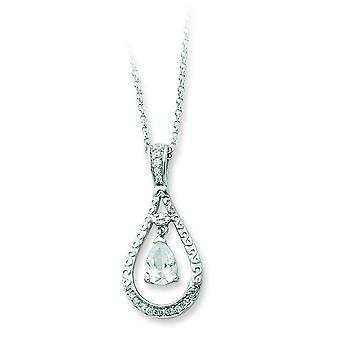 Sterling Silver April CZ Necklace - 18 Inch