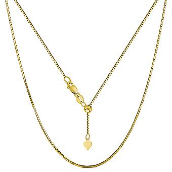 10k Yellow Gold Adjustable Box Link Chain Necklace, 0.85mm, 22