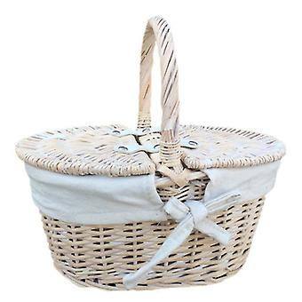 Childs White Wash Lidded Picnic Basket
