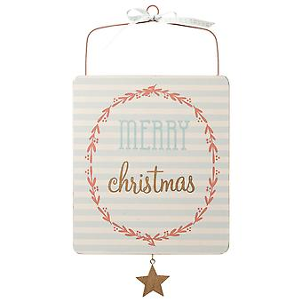 Wooden Merry Christmas Hanging Sign Scandi Pastel Sign Xmas Decoration