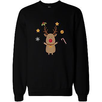 Cute Rudolph Christmas Graphic Design Printed Black Sweatshirt