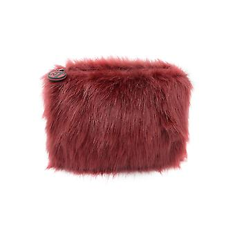 W7 Maroon Fluffy/Furry Small Cosmetic Toiletry Make Up Bag