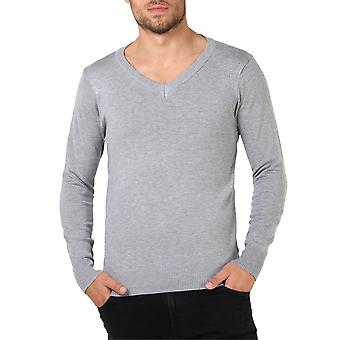 KRISP Mens Soft Cotton Knit Plain V Neck Fashion Jumper Knitwear Sweater Pullover Work