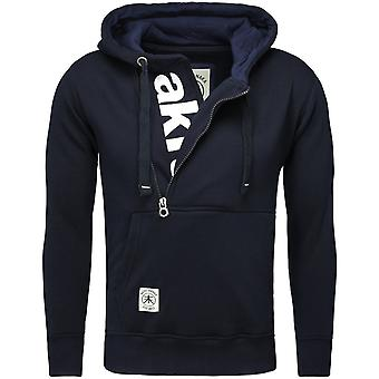 Akito Tanaka hooded sweater VERTICAL ZIP SWEAT navy/white