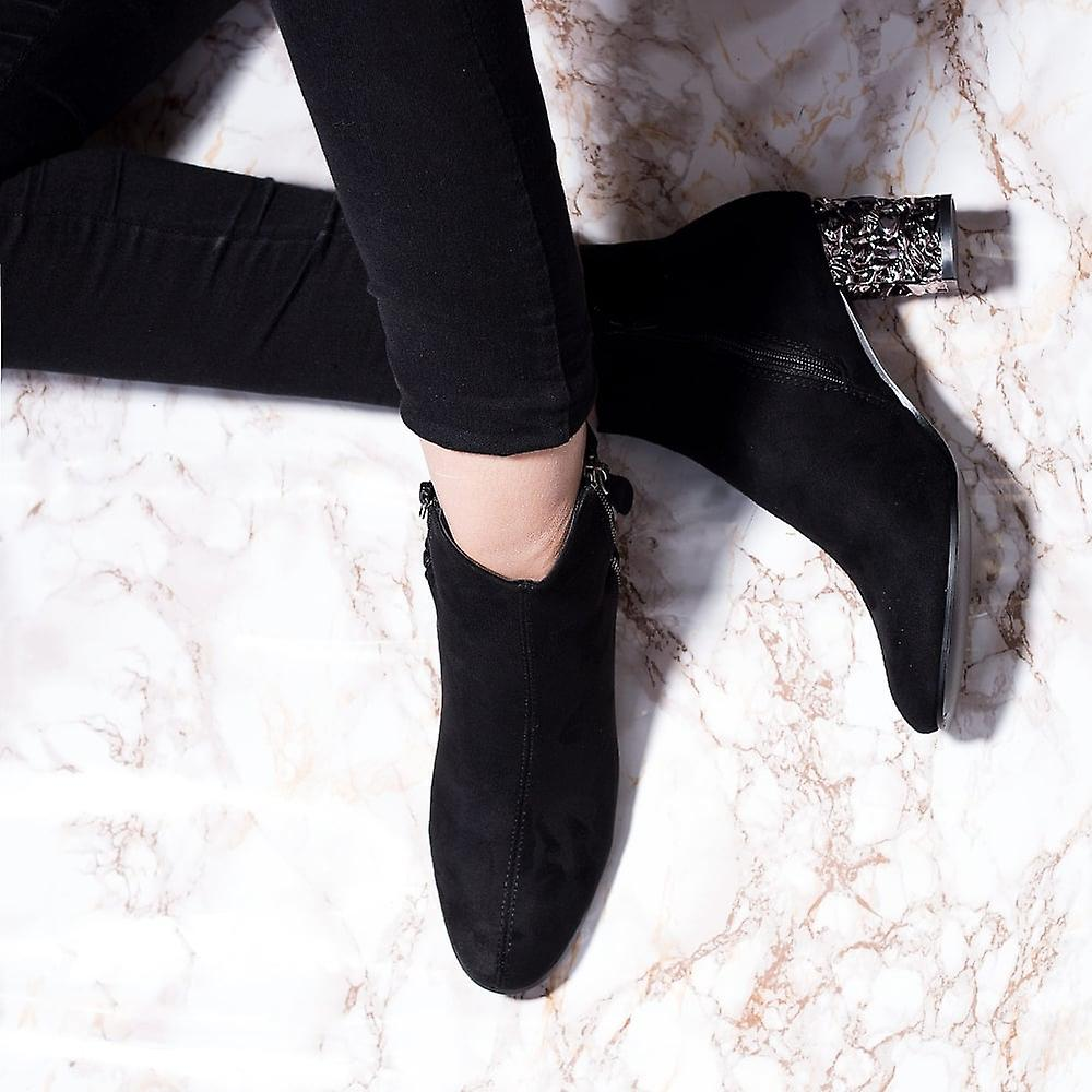 Spylovebuy MILLY Crushed Metal Block Heel Ankle Boots Shoes - Black Suede Style
