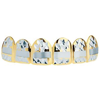 Gold Grillz - one size fits all - Diamond cut III - top