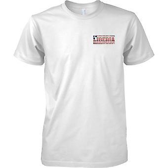 Liberia Grunge Land Name Flag Effect - Kinder-Brust-Design-T-Shirt