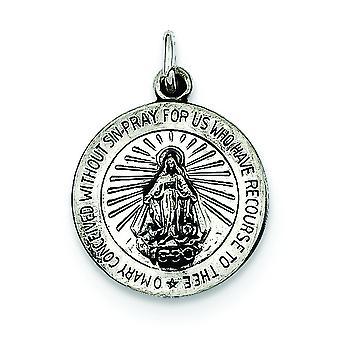 Finition en argent massif poli Antique pas engraveable charme de Médaille Miraculeuse