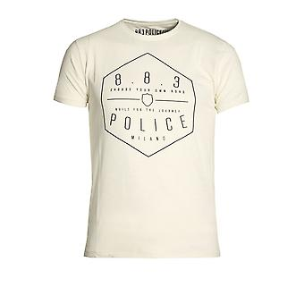 883 Police Edgar Graphic Print T-Shirt Navy & Off White