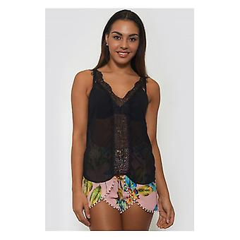 The Fashion Bible Black Lace Chiffon Vest Top