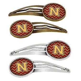 Lettera N Chevron Garnet e oro Set di 4 clip per capelli Barrettes