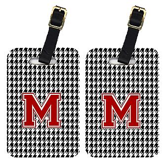 Pair of 2 Monogram - Houndstooth Black Initial M Monogram Initial Luggage Tag