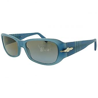 Persol Persol Ladies Blue Rectangular Sunglasses With Crystal Lenses