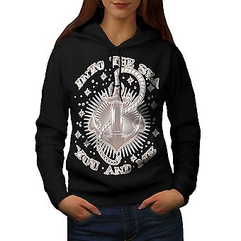 Into Sea Together Women BlackHoodie | Wellcoda