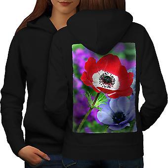 Flor del campo arte naturaleza mujeres BlackHoodie espalda | Wellcoda