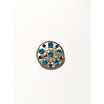 Gold and Light Blue Circular Brooch
