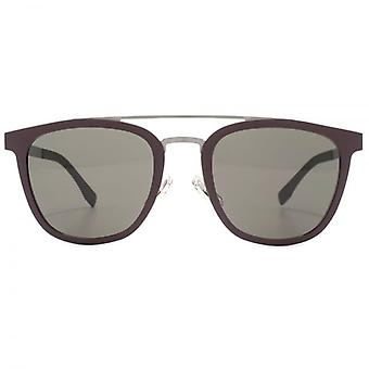 Hugo Boss Double Bridge Sunglasses In Burgundy Ruthenium