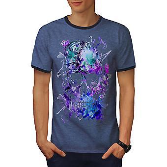 Schedel hoofd Festival mannen Heather blauw / NavyRinger T-shirt | Wellcoda