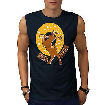 Deer Beer Funny Men NavySleeveless T-shirt   Wellcoda