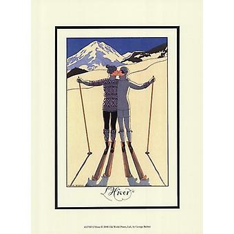Impresión de Poster LHiver por Georges Barbier (10 x 13)