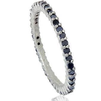 1 / 2ct noir diamant brut à alvéoles Set Eternity Ring 14K or blanc