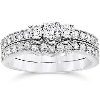 3/4ct Three Stone Vintage Diamond Engagement Wedding Ring Set 10K White Gold