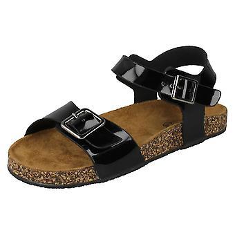 Girls Spot On Flat Buckle Strap Sandals - Black Synthetic - UK Size 12 - EU Size - EU Size 30 - US Size 13