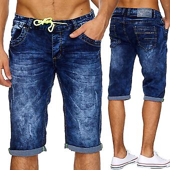 Men's Jeans Shorts Short Pants Stonewashed Tears Destroyed Summer Neon Capri