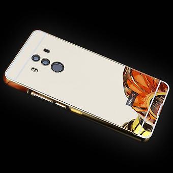 Spiegel / Mirror Alu Bumper 2 teilig mit Abdeckung Gold für Huawei Mate 10 Pro Tasche Hülle