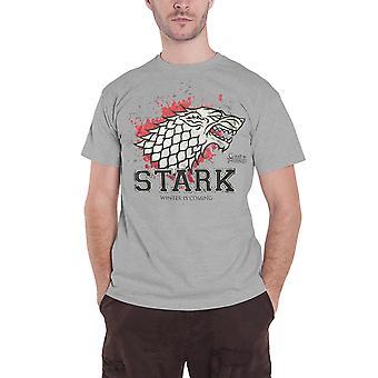 Juego de tronos T camisa Stark el luchador Wolf Logo nuevo oficial para hombre negro