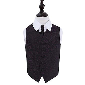 Black & Purple Swirl Wedding Waistcoat & Cravat Set for Boys
