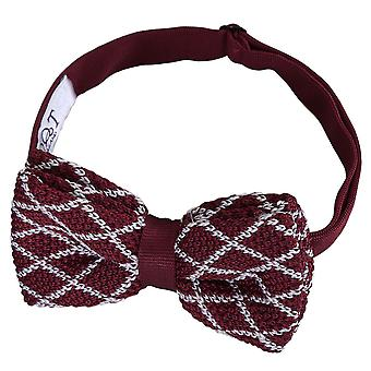 White and Burgundy Diamond Grid Knitted Pre-Tied Bow Tie