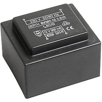 PCB mount transformer 1 x 230 V 1 x 24 V AC 3.60 VA 150 mA PTG382401 Gerth