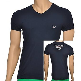 Emporio Armani Eagle Stretch Cotton V-Neck T-Shirt, Marine, Medium