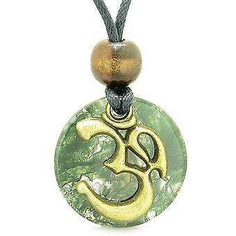 Alten OM tibetische Amulett magische Kräfte grün Moos Achat Münze Medaillon Anhänger Halskette